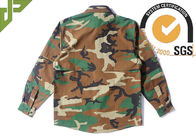 Woodland Camo Tactical Combat Shirt With Hidden Pencil Pockets Long Sleeve