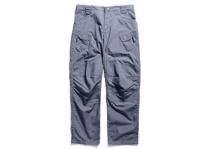 Blue Tactical Combat Pants Military Grade Double Layer Oblique Cutting Pockets